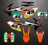 Pour KTM 125 250 300 350 450 SX SXF XC XCF 16-18 EXC 2017-2019 Gratuit Numéro Personnalisé Graphique et Milieux Autocollants Kit Décalque