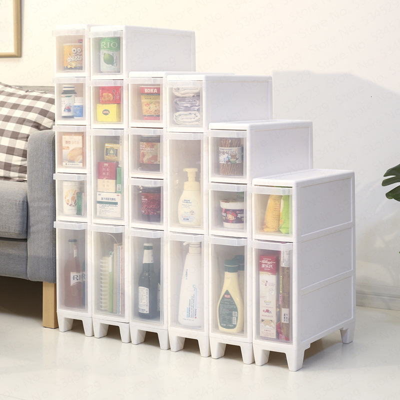 Kitchen Bathroom Drawers Quilted Storage Cabinets Toilet  Narrow  Multi-layer Combination Plastic