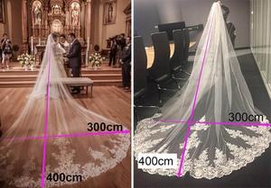 Image 5 - جديد 4 متر طبقة واحدة الدانتيل تول طرحة زفاف طويلة جديد أبيض العاج 4 متر الحجاب الزفاف مع مشط فيلوس دي نوفيا 400 سنتيمتر