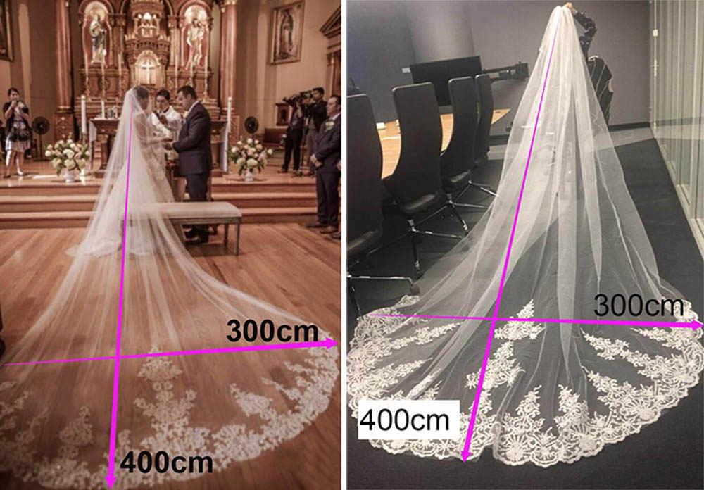 Neue 4 Meter Eine Schicht Spitze Tüll Lange Hochzeit Schleier Neue Weiß Elfenbein 4 M Braut Schleier mit Kamm Velos de Novia 400CM