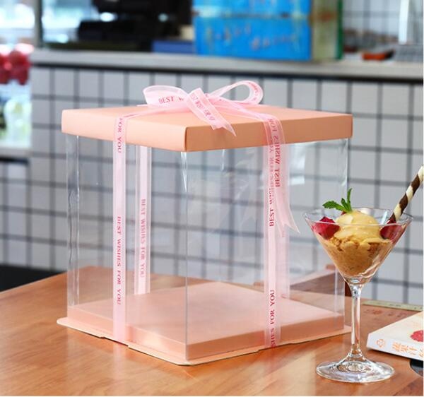 22*22*23cm Square White Black Blue Pink Cake Box For Birthday Cake Gift Packaging Mother's Day Cake Container