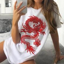 Camiseta de impressão de dragão feminino mais tamanho manga curta tumblr casual novo streetwear hip hop topos harajuku diversão básica senhoras verão t