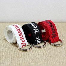 130cm Fashion Neutral Nylon Canvas Belt Printing D Ring Double Buckle Student