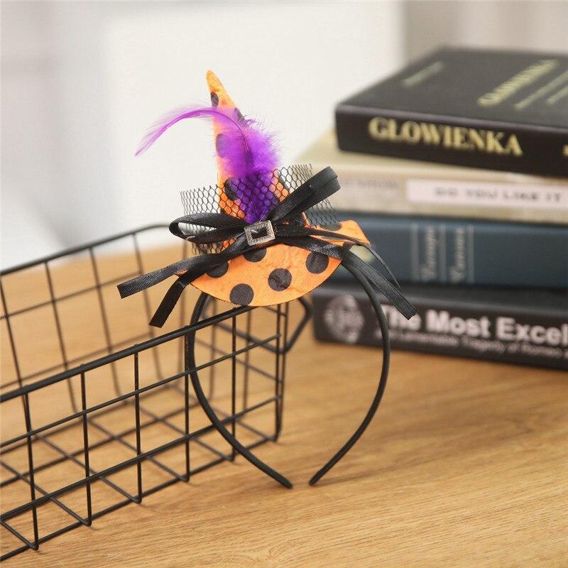 New Mini Witch Hat Headband Halloween Headbands For girls Fancy Dress Props Cosplay Party Gifts Headwear Kids 30Jul3110