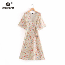 ROHOPO Red Blue Daisy Dloral Vintage Kimono Midi Dress Lace Up Belted Wrap Loose Gown Chic Mid Calf  Vestido #8987 цена в Москве и Питере