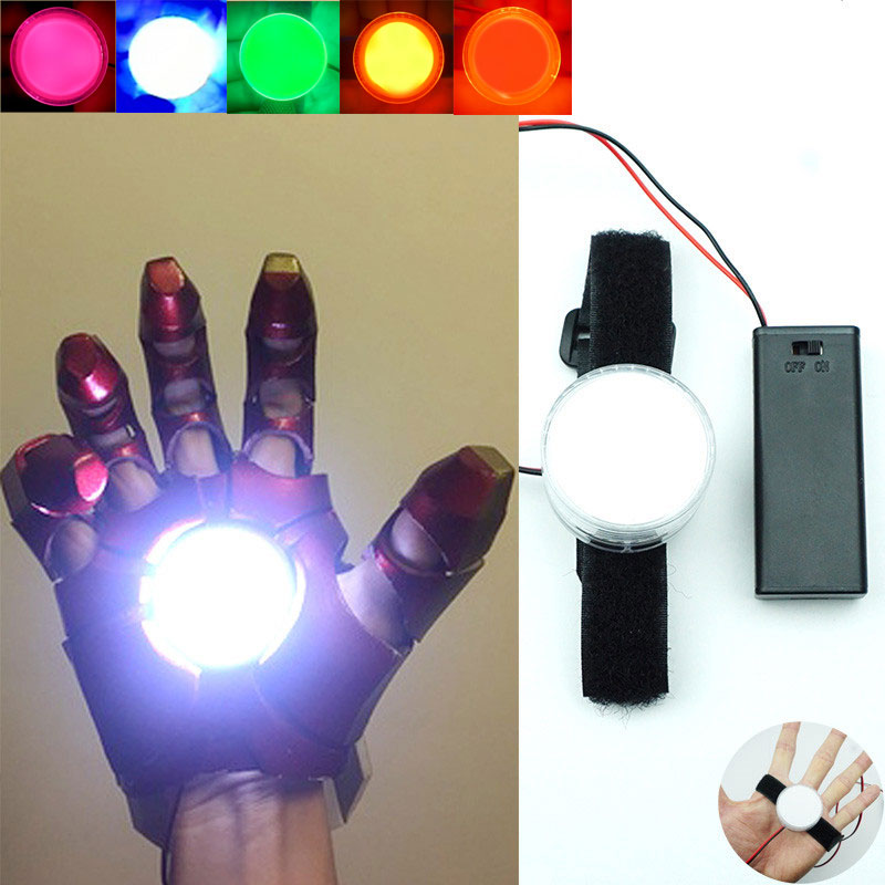 LED Light Controlled DIY Accessories For Tony Stark Iron Man Hand Led Lamp Glove Palm Lights Cosplay Props AAA model Light 53M