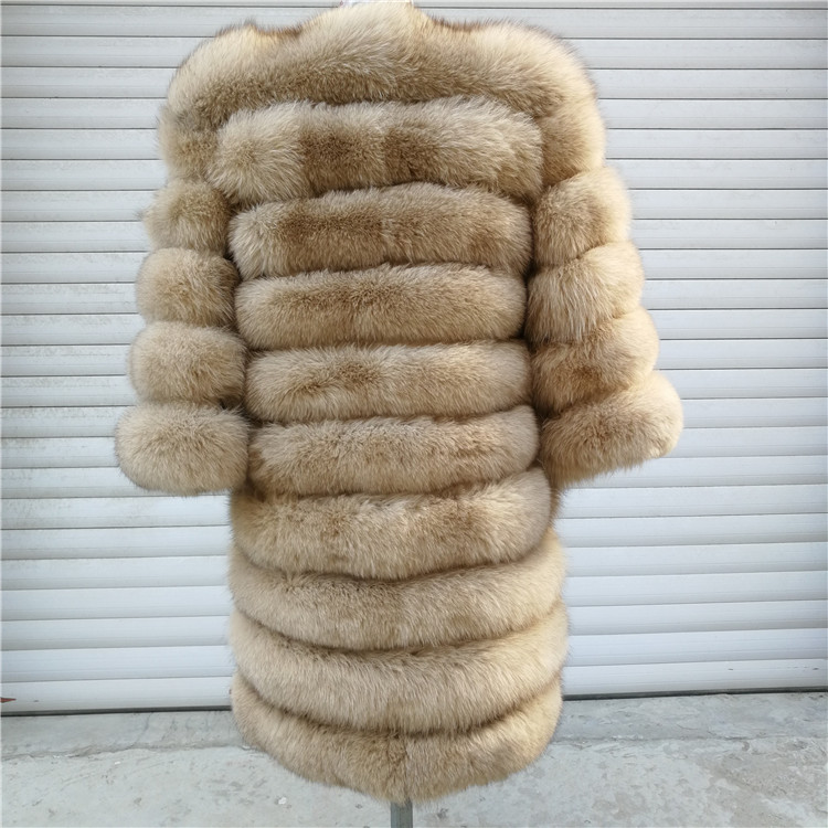 100% Natural Real Fox Fur Coat Women Winter Genuine Vest Waistcoat Thick Warm Long Jacket With Sleeve Outwear Overcoat plus size 55