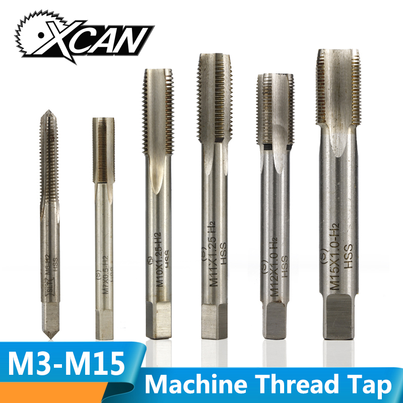 XCAN 1pc M3/M4/M5/M6/M8/M10/M12/M14/M15 Machine Tap HSS Straight Flute Plug Tap Screw Thread Tap Drill Bit