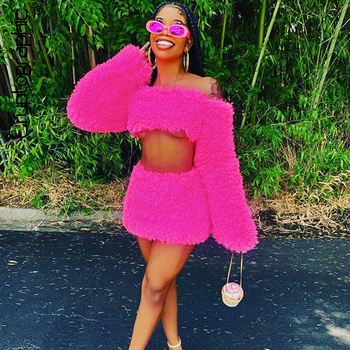 Cryptographic Pink Off Shoulder Sexy Backless Long Sleeve Crop Top and Skirt Two Piece Set Bodycon Women Outfits Matching Sets bomblook sexy off shoulder plush two pieces set long sleeve tube crop top 2020 fashion shorts skirt casual clothing streetwear