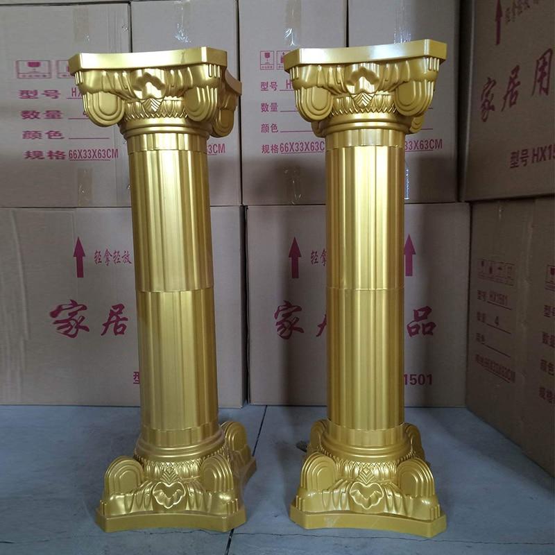 Wedding Roman Column Gold Plastic Flower Pot Road Lead Wedding Scene Layout Silk Flower T Stage Roman Column Decoration Props