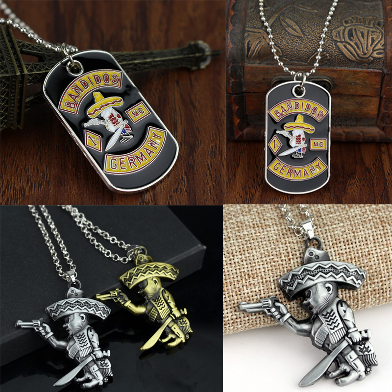 New MC Germany Bandit Necklace Beads Chain Biker Style Robber Pendant With Gun And Knife Jewelry For Fans