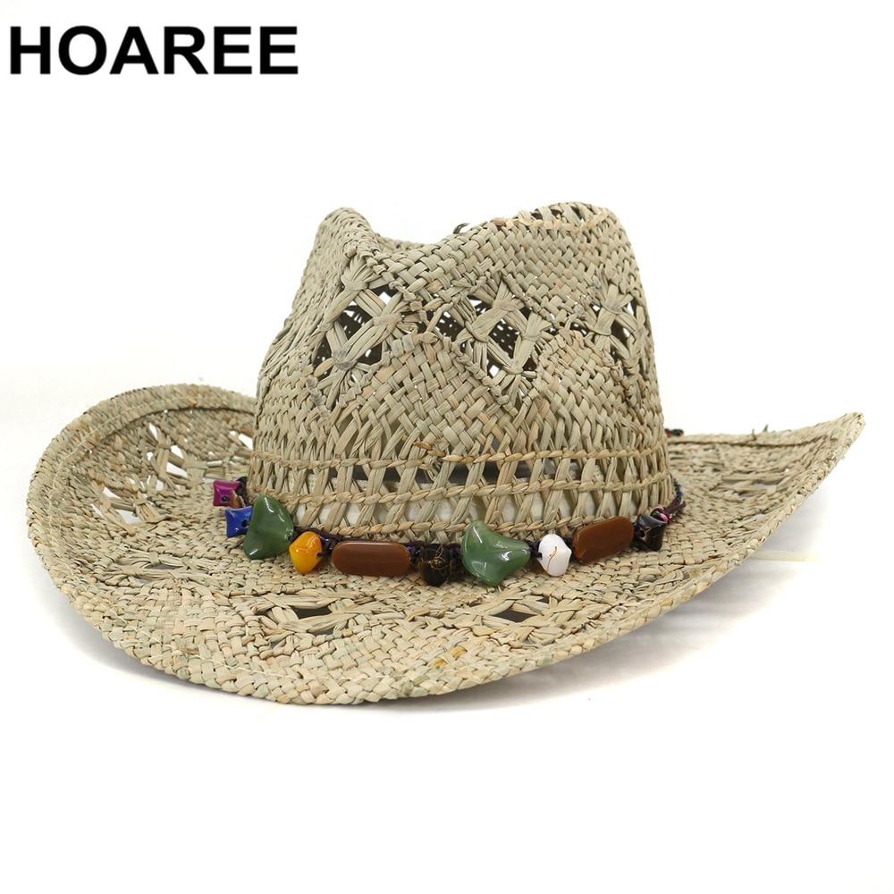 HOAREE Cowboy Hat Summer Straw Womens Hats Handmade Sun Hat for Men Cowgirl False Gem Decoration Casual Beach Cap Panama