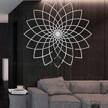 Espelho adesivos de parede adesivo decoração para casa decoração do quarto sala estar papel parede para paredes lótus linha linear arte flor r140