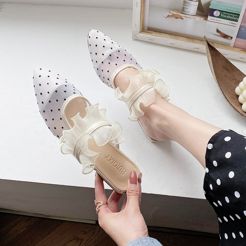 Female Shoes Slippers Women Summer Slides Low Cover Toe 2020 Soft Cotton Fabric Fretwork Hoof Heels PU Cover Toe Shoes Slippers