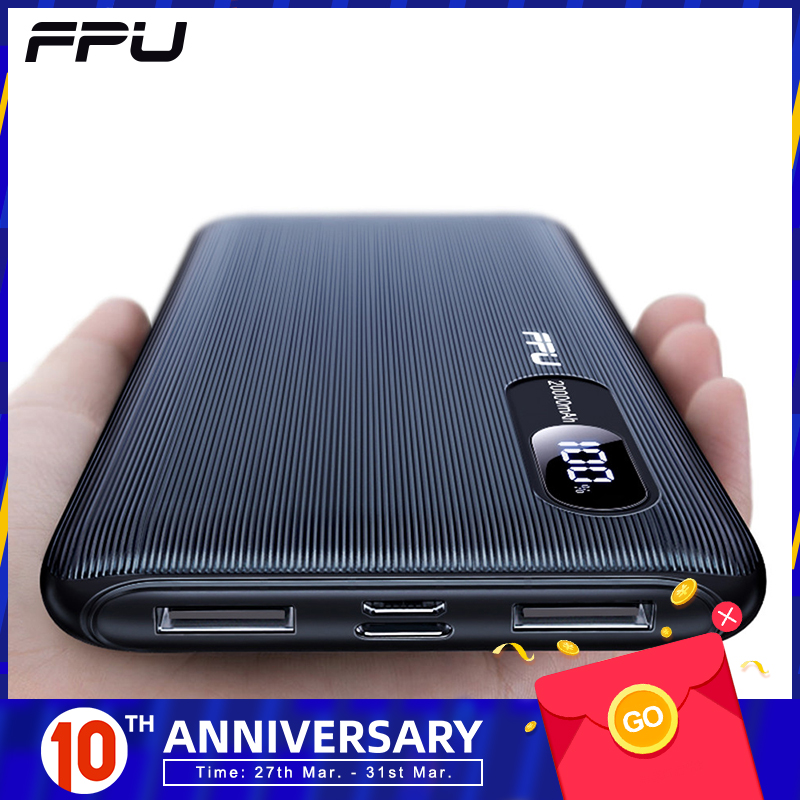 FPU <font><b>Power</b></font> <font><b>Bank</b></font> 20000mah For Xiaomi For iPhone Portable Powerbank <font><b>20000</b></font> mah Phone Poverbank Charger Mobile External Battery Pack image