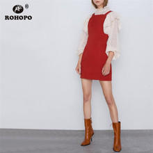 ROHOPO Autumn Women Thin Denim Red Cotton Dress Strap High Waist Solid Preppy Girl Chic Mini Vestido #449