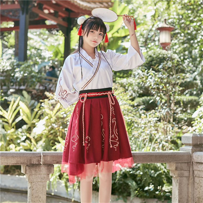 Summer Woman Japanese Traditional Dress Embroidery Ancient Fashion Kimono Girls Japanese Style Clothes Outfits Lace Up Skirt