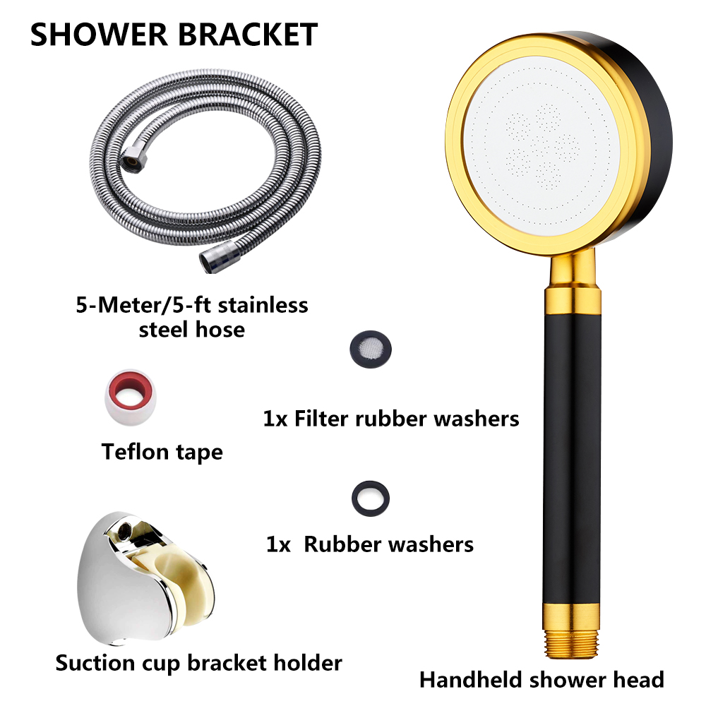 Handheld Aluminum Shower Head For Bathroom Durable Round High Pressure Shower Nozzle Black Color Water Saving Showerheads