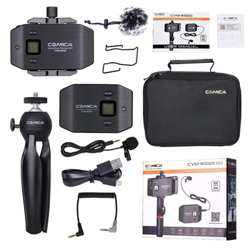 Comica CVM-WS50(C) Wireless Smart Phone Lavalier Microphone System, with UHF 6 Channels, 194FT Wireless Range, Built-In Chargabl