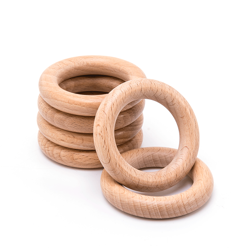 5Pcs 30/40/55/65mm Beech Wooden Ring Baby Teether Teething Ring Round Ring DIY Pacifier Chain Bracelet Accessorie Toys Gifts