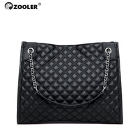 ZOOLER Exclusively Genuine Leather Women's Shoulder Bags Soft Leather Handbag Ladies Bag Quilted Elegant Black Female Bags#QS226