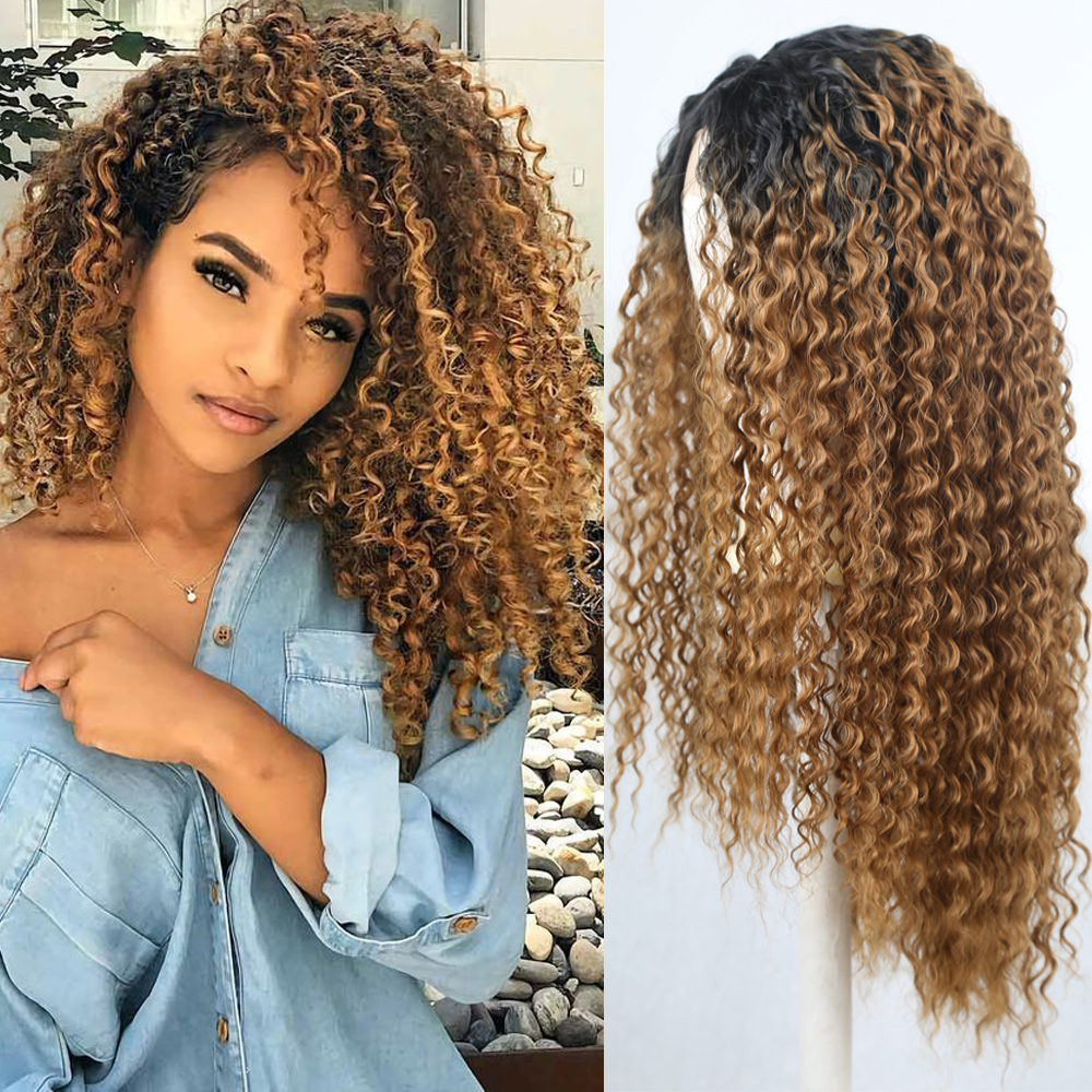FANXITON Two Tone Synthetic Heat Resistant High Temperature Hair Wigs Long Kinky Curly Hair Cosplay Blonde Ombre Lace Front Wig