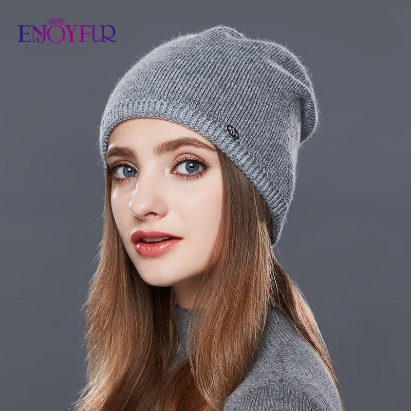 ENJOYFUR Winter Autumn Hats For Women Simple Style Cap Youth Wool Beanies
