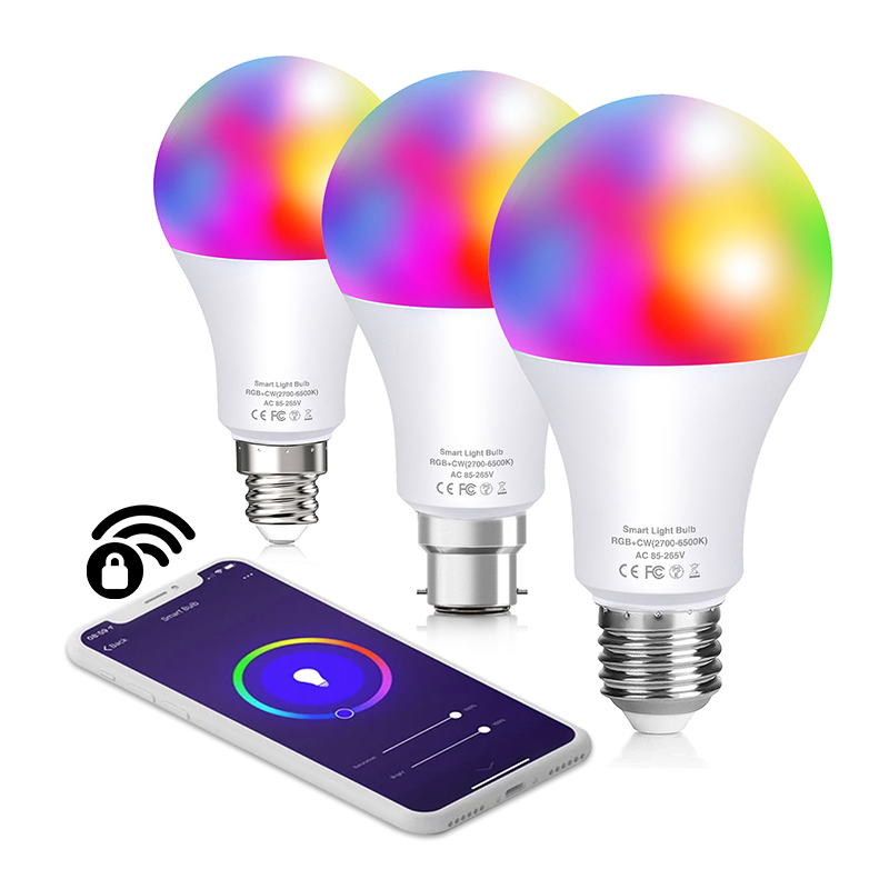 Умная Светодиодная лампа E27 E14 B22 совместим с Google Home, Alexa, Homekit Цветной декоративные Edison Wi-Fi Rgb светильник лампы для дома