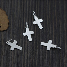 Real 925 Sterling Silver DIY Jewelry Accessories Crosses Pendant Charm Suit Bracelet Necklace Findings A0233