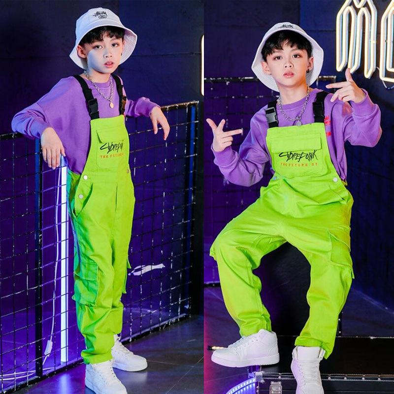 Детская танцевальная одежда в стиле хип-хоп для девочек и мальчиков, спортивная рубашка, топы, штаны на лямках, костюмы для бальных танцев, верхняя одежда