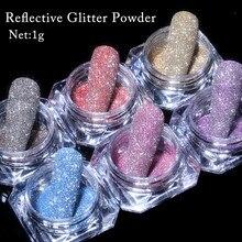 1 caixa de cristal espumante prego em pó holográficos laser prata reflexivo prego glitter pó fino brilhante pigmento decoração