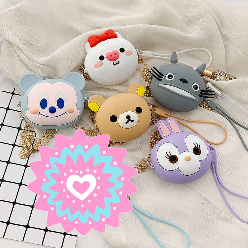 Small Women Silicone Wallets Circle Wallet Fashion Cute Mini Purse Ladies Students Small Coin Bag Designer Kawaii Teddy Bear Box