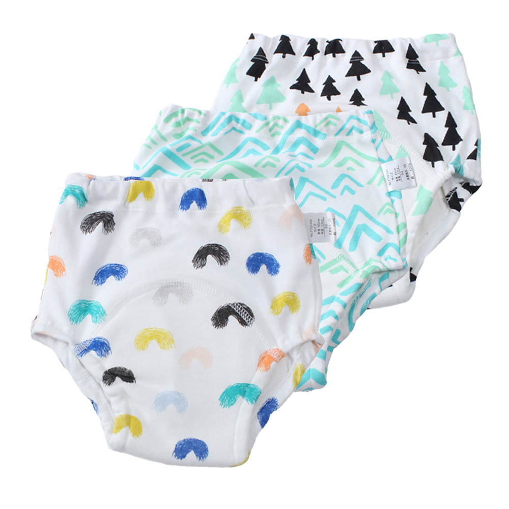 3Pcs Baby Waterproof Training Pants Washable Cotton Baby Cloth Diaper 4Layers Newborn Infant Nappy Reusable Baby Learning Pants