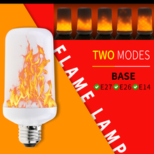 E27 LED Flame Effect Fire Light Bulb E14 Lamp 220V Burning E26 Candle Flickering Emulation Decoration