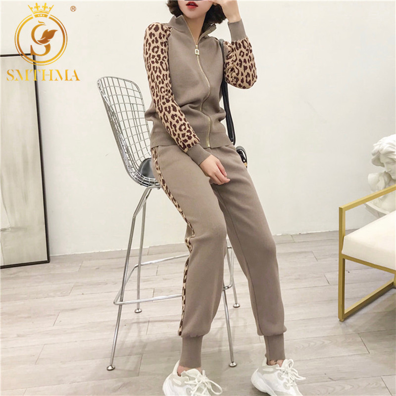 2019 New Arrival Women Leopard Print Knitting Zipper Cardigans + Pencil Pants 2PCS Casual Tracksuits Knit Jacket Trousers Sets