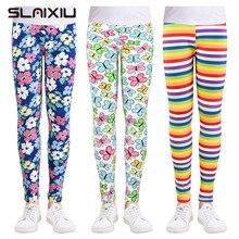 SLAIXIU/леггинсы для девочек; одежда для маленьких девочек; камуфляжные узкие брюки; Мягкие хлопковые детские брюки; детские леггинсы с цветочным принтом