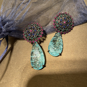 Image 5 - Bilincolor אופנה כחול שבור מעוקב Zirconia יוקרה אלגנטי כלה טיפת עגיל לנשים Vintgage פרח תכשיטי חתונה