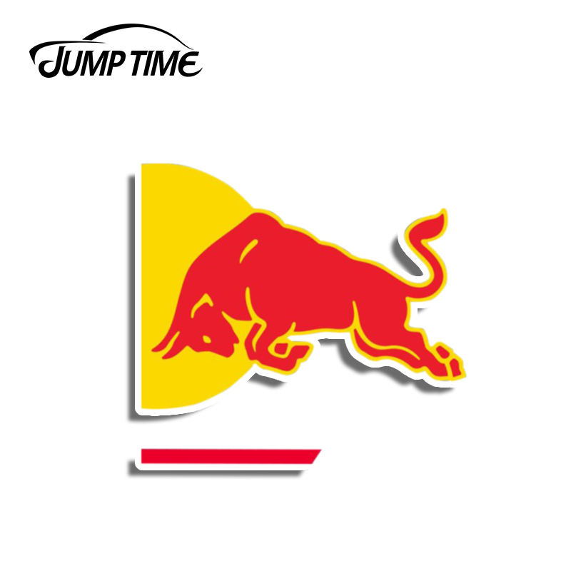 Jump Time 13cm X 9.8cm For RED Of Bull Graphics 3D Car Stickers Vinyl Car Warp Decals For Car Windows Body Windshield Bumper