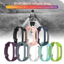 Pulseira de silicone para huawei honor band 4 running versão esporte inteligente pulseira para huawei banda 3e/banda 4e relógio inteligente