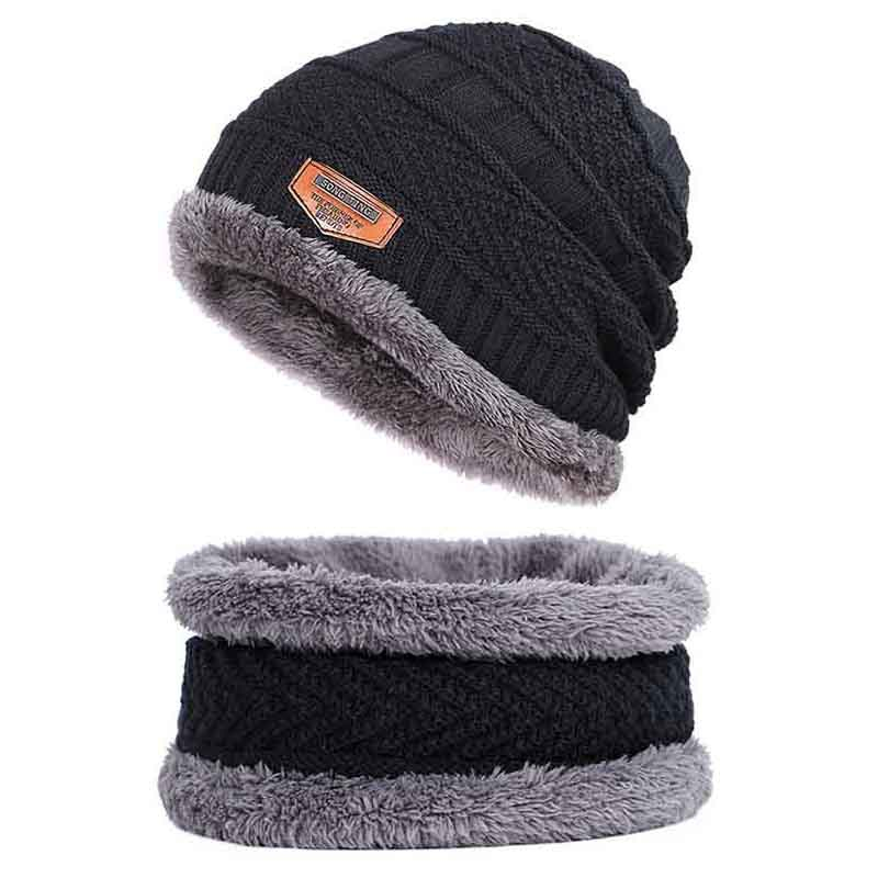 2Pcs/set Men's Winter Beanie Hat+Neck Warmer Practical Thick Soft Knitted Cotton Thermal Hat Outdoor Hiking Sports Windproof Cap