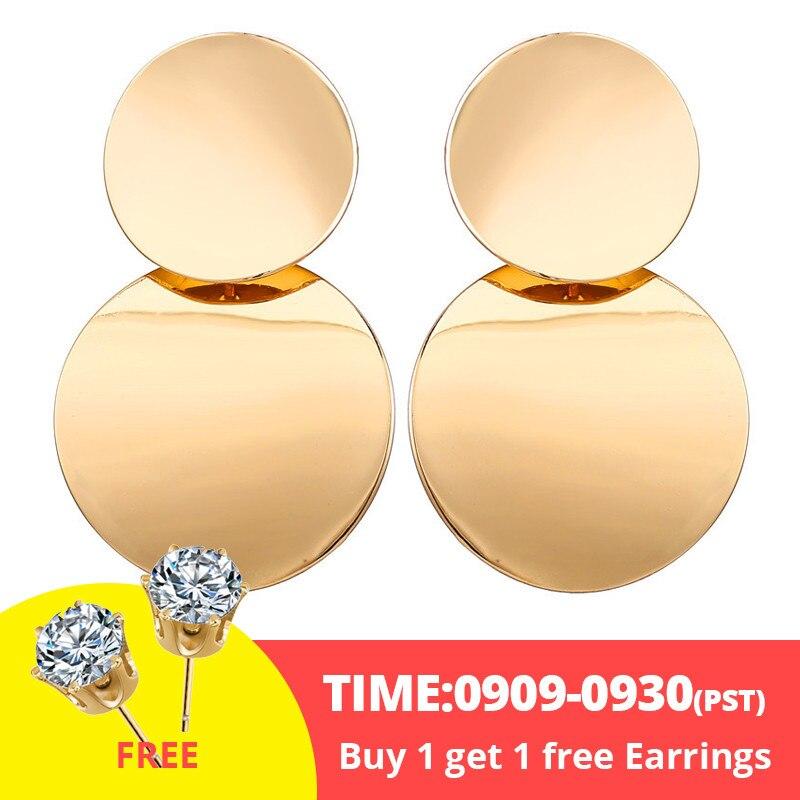 17 км винтажные Золотые круглые металлические серьги-гвоздики с блестками для женщин, модные серьги с полой сеткой, корейские ювелирные изделия, вечерние серьги, подарок - Окраска металла: buy 1 get 1 free