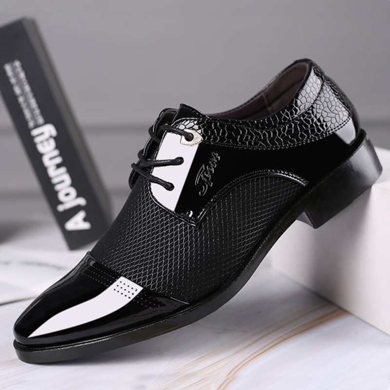 REETENE Big Size Men Dress Shoes Quality Men Formal Shoes Lace-Up Men Business Oxford Shoes Brand Men Wedding Pointy Shoes 38-48