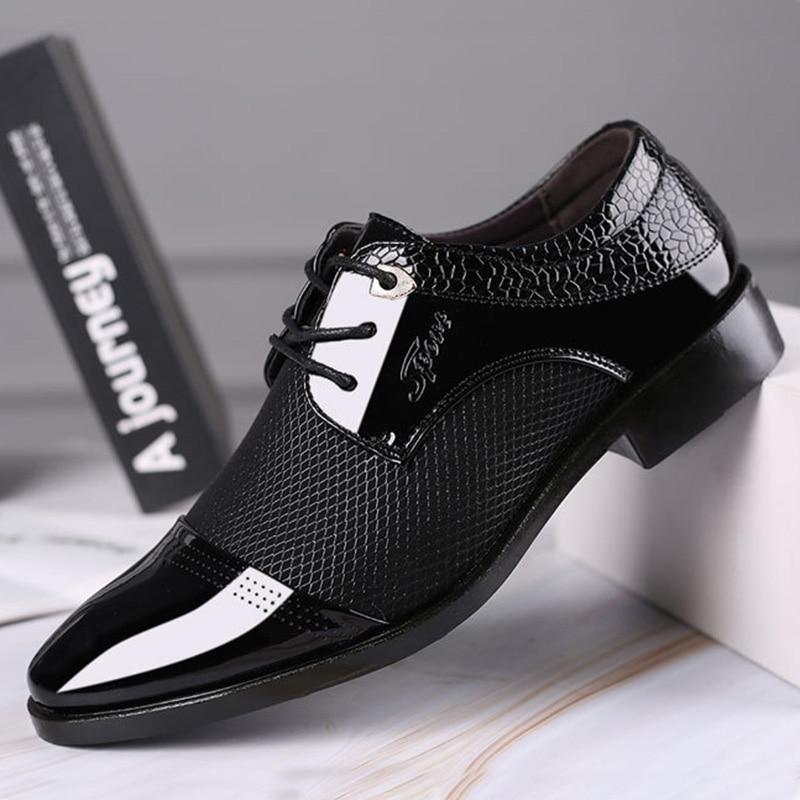 REETENE Big Size Men Dress Shoes Quality Men Formal Shoes Lace-Up Men Business Oxford Shoes Brand Men Wedding Pointy Shoes 38-48