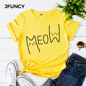 JFUNCY Cute T Shirt Women 2020 100% Cotton Print Meow Cat O-neck Casual Shirt Fashion Shirt Short-Sleeve T-shirt 4 Colors S 3XL