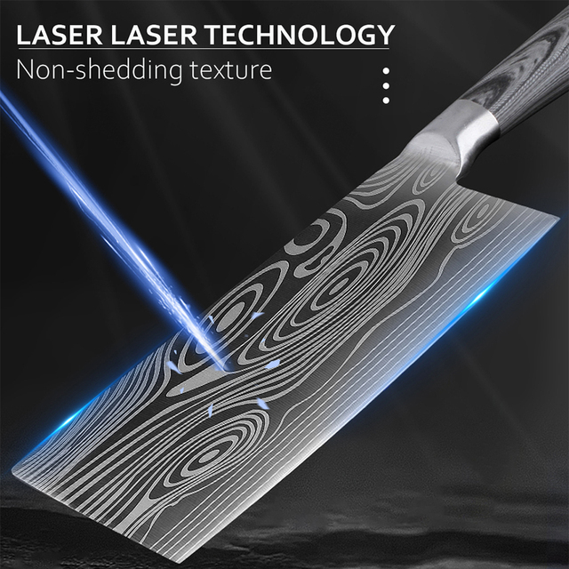 Laser Etched 7Cr17 Stainless Steel Chef Knife Set 5