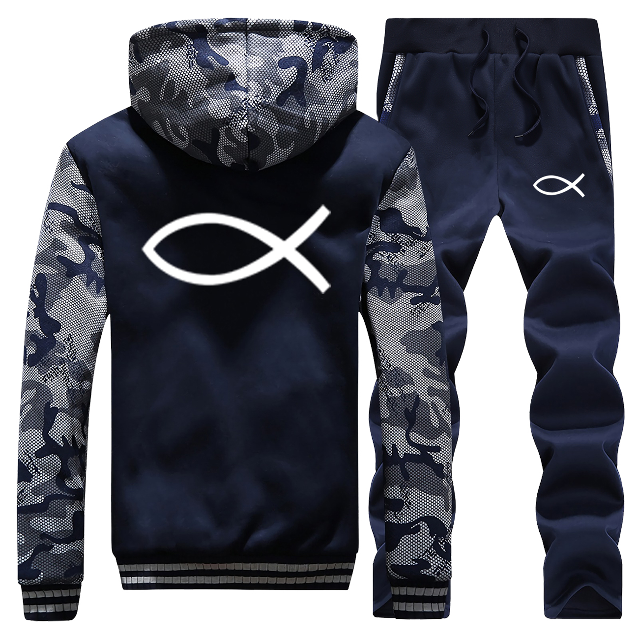 Christian JESUS Fish Hoodies Trousers Warm Fleece Zip Jacket+Pants 2 Piece Sets Fashion Brand Coat Winter Mens Tracksuit Suit