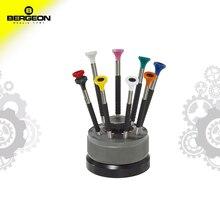 Juego de destornillador ergonómico BERGEON 6899 S09WATCHMAKERS de 9 piezas, destornillador tipo ranura para reparar el reloj