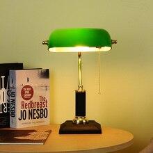 Lámpara de mesa de arte Retro, lámpara de escritorio de película verde Vintage, lámpara led de mesita de noche de dormitorio americano, lámpara de mesa de estudio, lámpara de escritorio nostálgica, luz de mesa