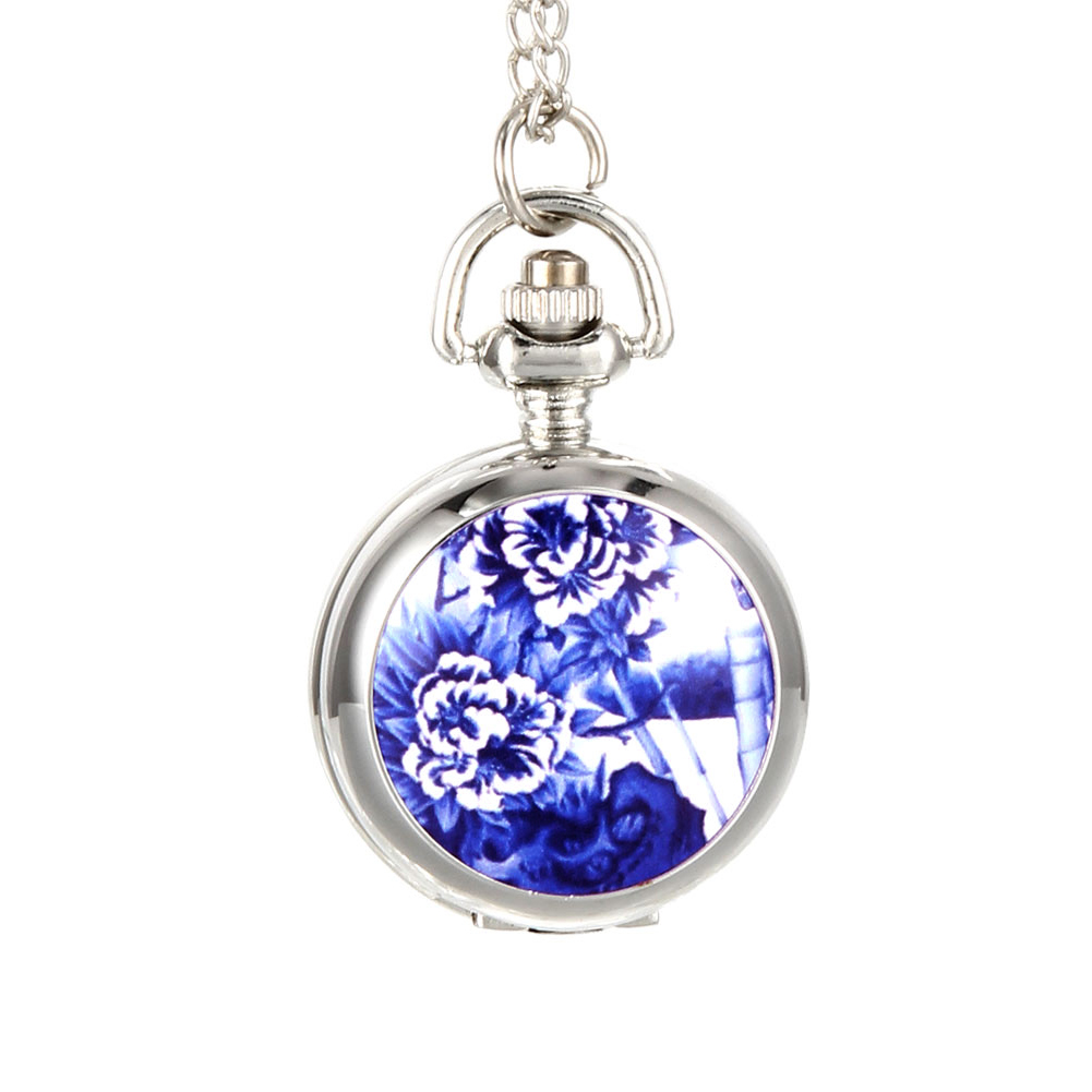 Vintage Women Quartz Pocket Watch Alloy Openable Blue Flowers Pattern Lady Sweater Chain Necklace Pendant Clock Gifts UND Sale