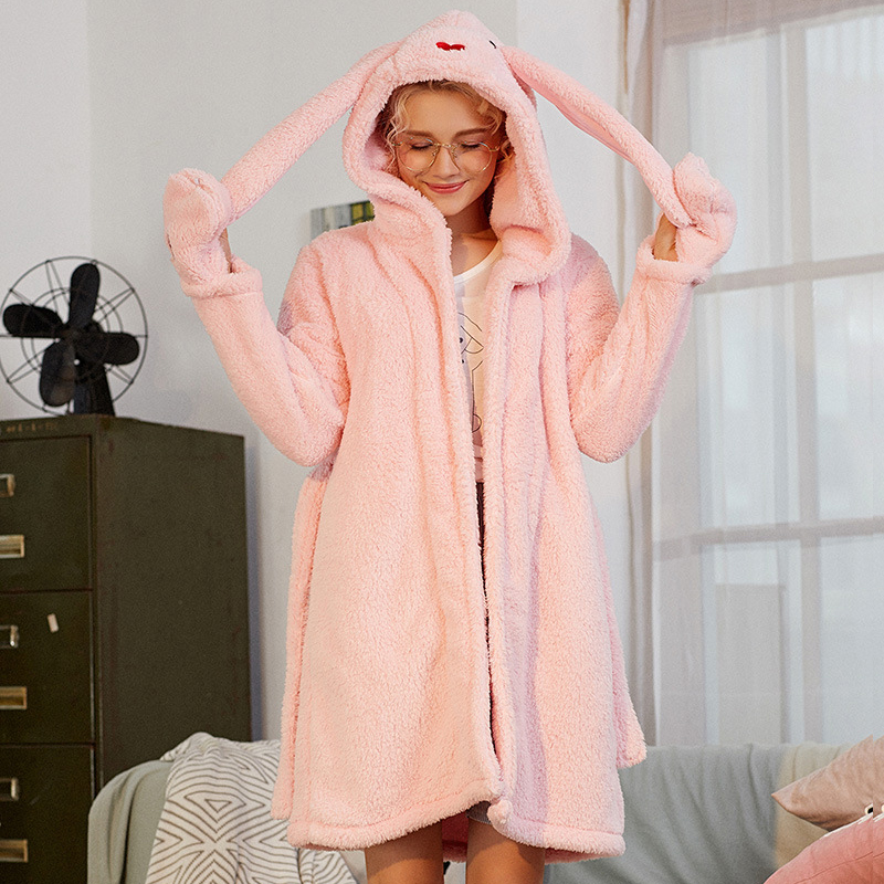 Women Night Robes Winter Warm Coral Fleece Female Cartoon Long Ears Rabbit Pink Gray Long Sleeve Homewear Nightgown Bathrobe New